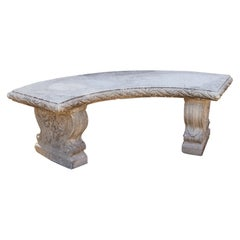 Curved Cast Stone Bench on Scrolled Leaves Base, circa 1960s, No 5