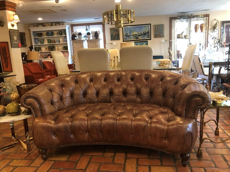 Curved Light Brown Italian Leather Chesterfield Sofa At