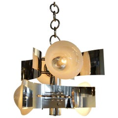Curved Chrome-Plated Frame with Four Torchiere Large Modern Bulb Chandelier
