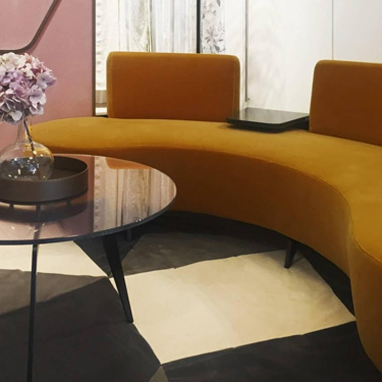 Blackened Curved Conversation Sofa in Soft Pink Velvet with Cocktail Plectrum Table For Sale
