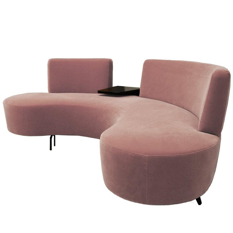 Curved Conversation Sofa in Soft Pink Velvet with Cocktail Plectrum Table For Sale