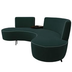 Curved Conversation Sofa in Teal Peacock Green Velvet with Cocktail Table