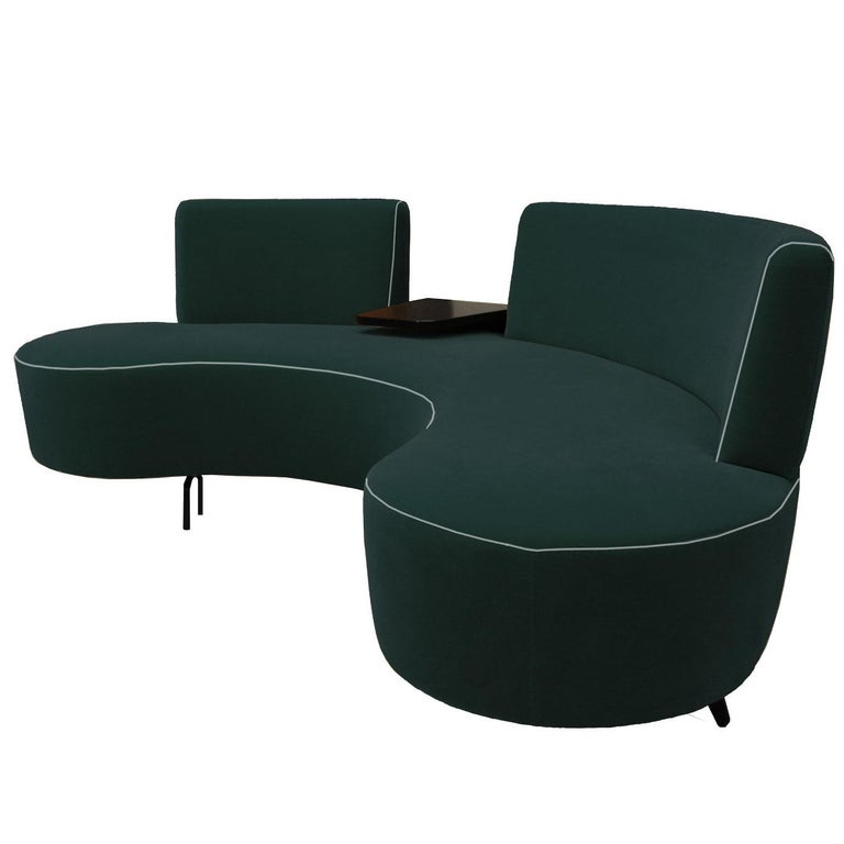 Curved Conversation Sofa in Teal Peacock Green Velvet with Cocktail Table For Sale