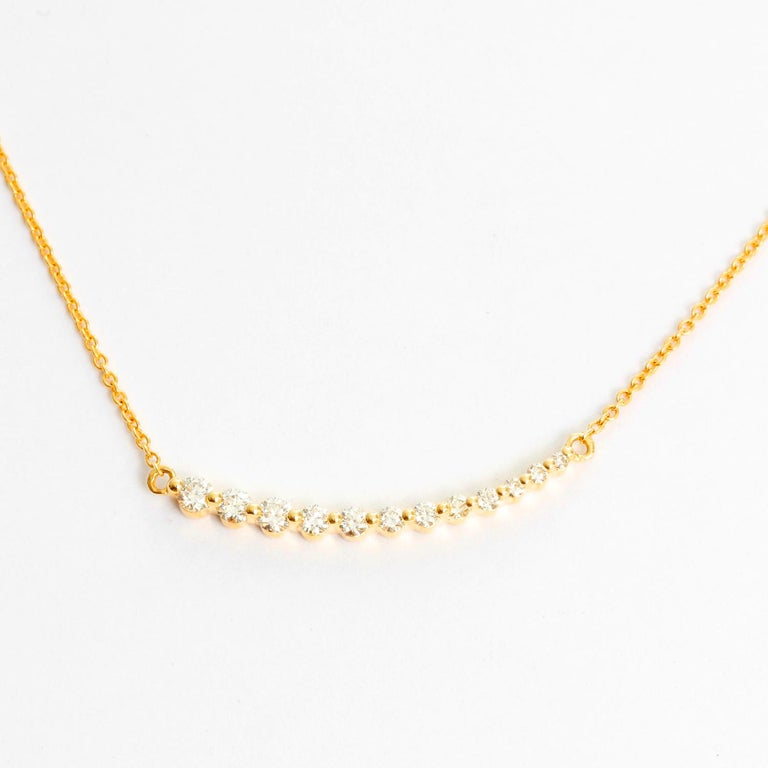 Women's Curved Diamond Bar Necklace For Sale