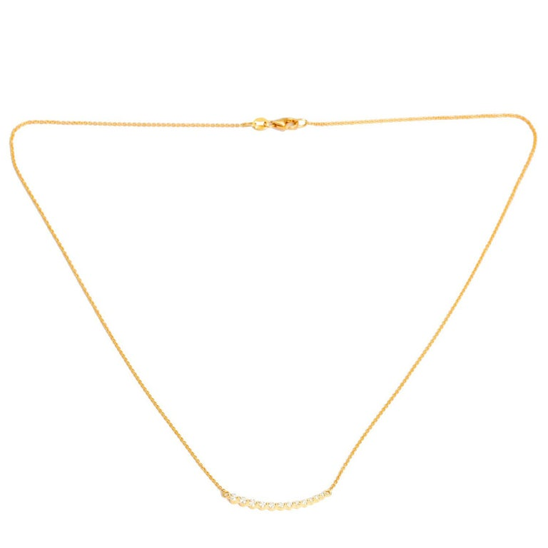 Curved Diamond Bar Necklace For Sale