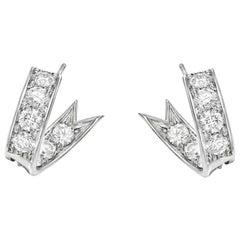Curved Diamond Hoop Earrings