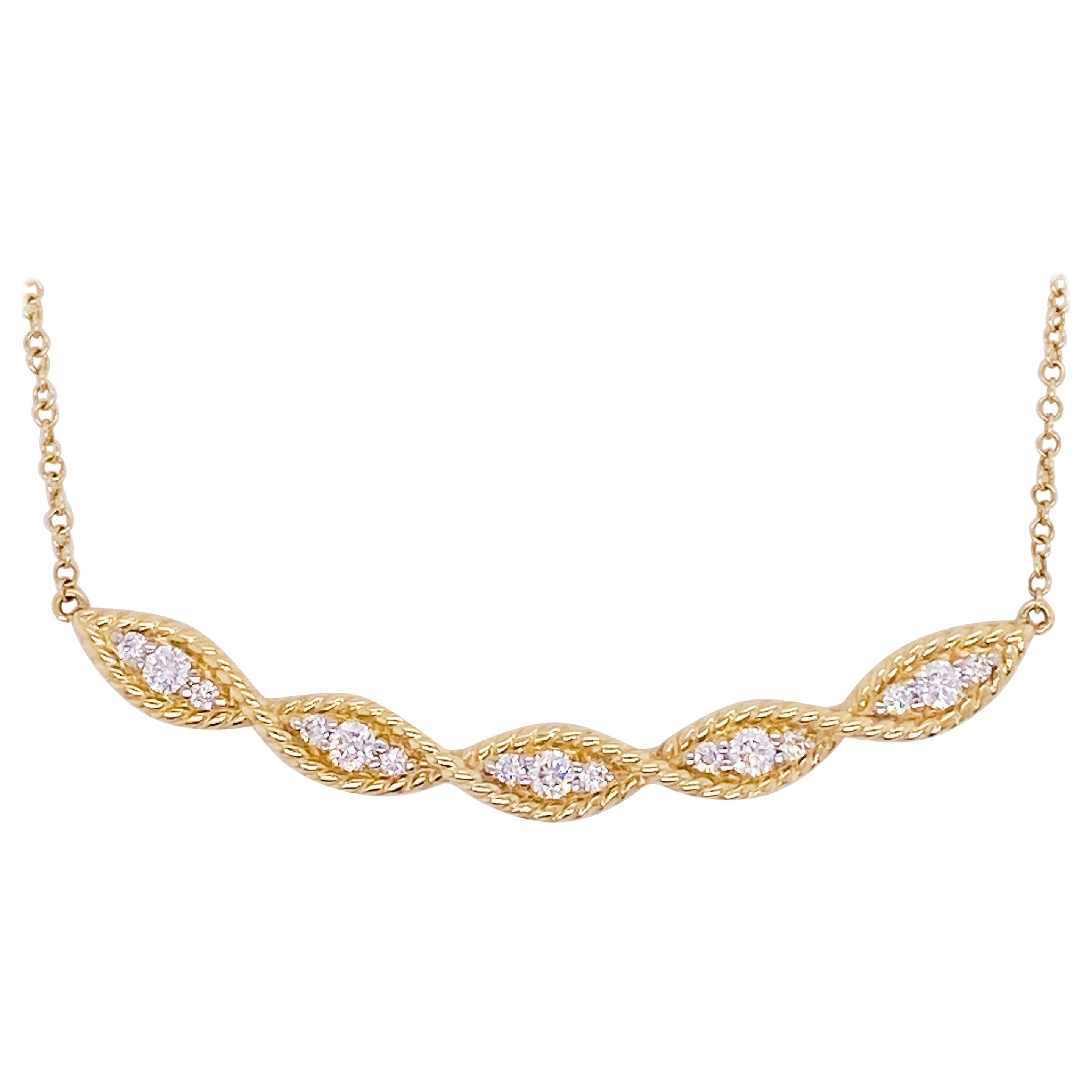 Curved Diamond Necklace, 14 Karat Gold Twisted Rope Bar, NeckMess, NK6085Y45JJ