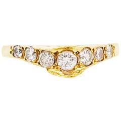 Curved Diamond Ring, 0.30 Carat Diamond, Estate Diamond Wedding Band 18K Gold