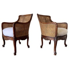 Curved Double Cane Lounge Chairs from Belgium 1950s with Sherpa Faux Fur
