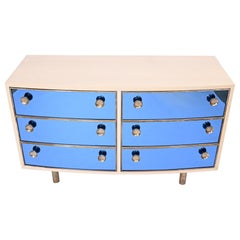 Curved Dresser with Blonde Wood and Blue Crystal Glass