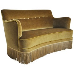 Curved Early 20th Century Sofa with Original Upholstery in Green and Yellow Tone