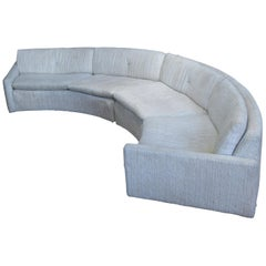 Curved 'Floating' Sofa with Lucite Base by Milo Baughman