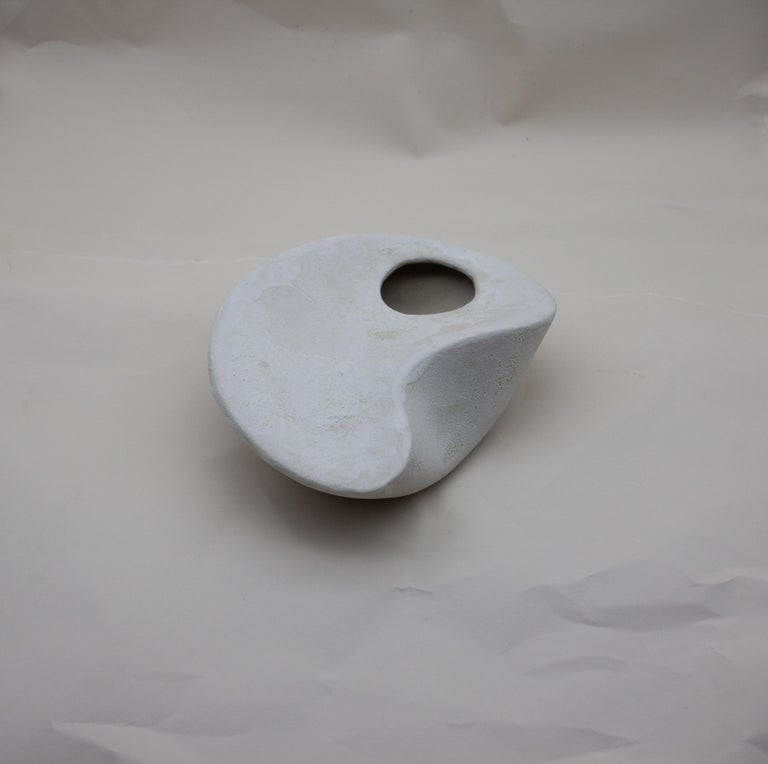 Modern Curved Form Handcrafted Stoneware Sculpture with Porcelain Slip Decoration For Sale