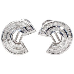 Curved French Clip Channel Set Baguette Diamond Earrings