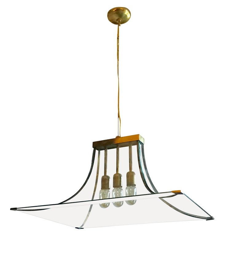 Curved Glass and Brass Chandelier, Italy, 1940s For Sale
