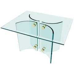 Curved Glass Base Brass Stretchers Glass Top Side Console Table