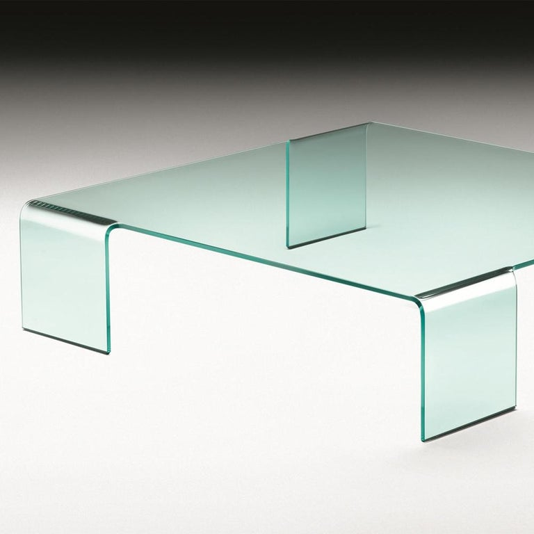 Italian Curved Glass Coffee Table For Sale