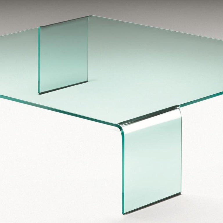 Hand-Crafted Curved Glass Coffee Table For Sale