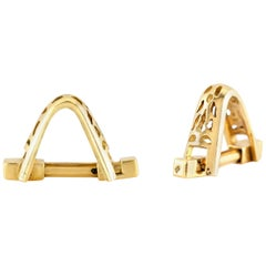 Curved Gold Cufflinks with Holes