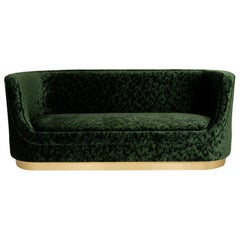 Curved Green Velvet Sofa