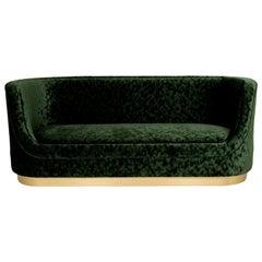 Curved Green Velvet Sofa