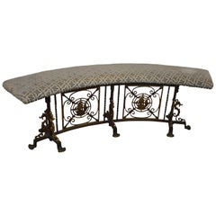 Curved Iron Upholstered Bench Attributed to Oscar Bach Ship & Seahorse Details
