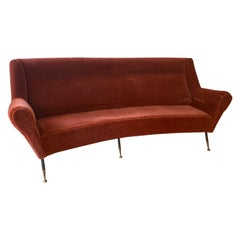 Curved Italian 1950s Sofa by Gigi Radice