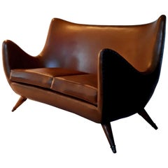 Curved Italian Mid Century Modern  Two Place Sofa, Milano, 1950s