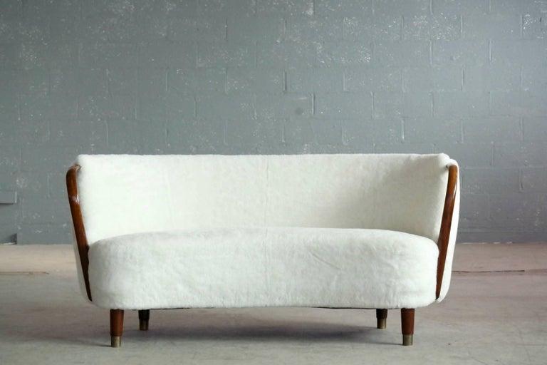 Scandinavian Modern Curved Lambswool Sofa Model No. 96 by N.A. Jørgensen Style of Viggo Boesen For Sale
