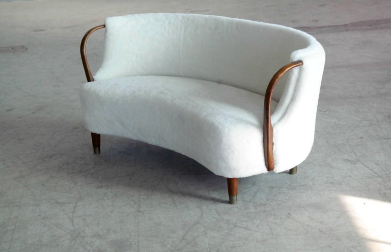Danish Curved Lambswool Sofa Model No. 96 by N.A. Jørgensen Style of Viggo Boesen For Sale