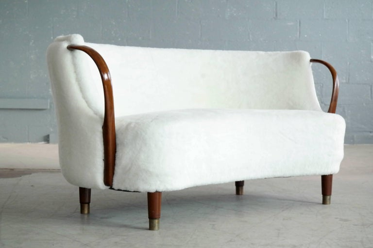 Curved Lambswool Sofa Model No. 96 by N.A. Jørgensen Style of Viggo Boesen In Good Condition For Sale In Bridgeport, CT