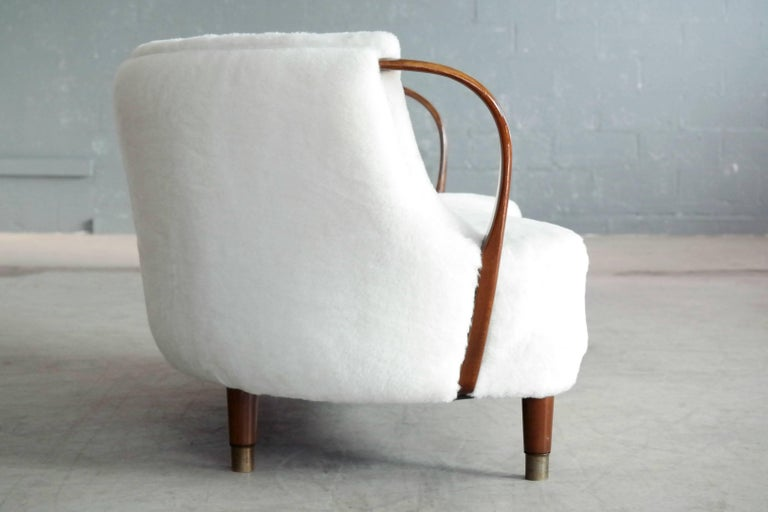 Mid-20th Century Curved Lambswool Sofa Model No. 96 by N.A. Jørgensen Style of Viggo Boesen For Sale