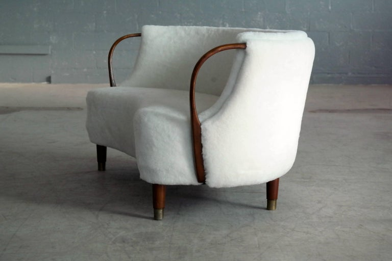 Wool Curved Lambswool Sofa Model No. 96 by N.A. Jørgensen Style of Viggo Boesen For Sale