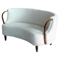 Curved Lambswool Sofa Model No. 96 by N.A. Jørgensen Style of Viggo Boesen