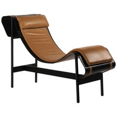 Curved Leather Platform and Cushion Chaise Longue