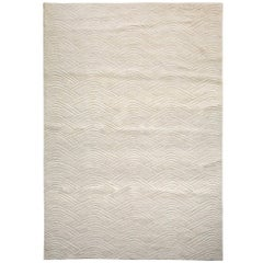 Curved Line Pattern Customizable Voyage Weave Rug in Cream Extra Large
