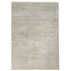 Curved Line Pattern Customizable Voyage Weave Rug in Dove Large