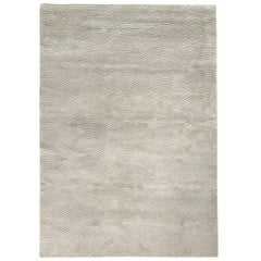 Curved Line Pattern Customizable Voyage Weave Rug in Dove Small