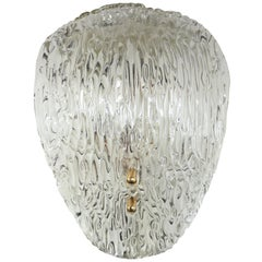 Curved Murano Clear Ice Textured Glass Wall Sconce by J.T. Kalmar, 1950s