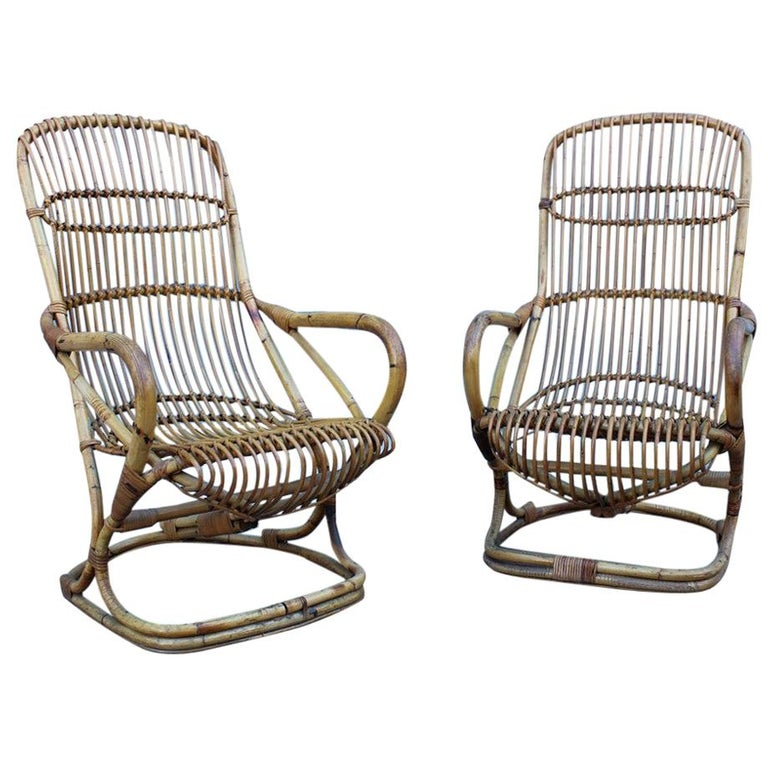 Curved Pair of Bamboo Armchairs 1950s Italian Design For Sale
