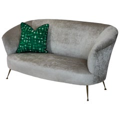 Midcetury Curved Parisi Sofa On Brass Feet
