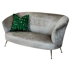 Curved Parisi Sofa on Brass Legs