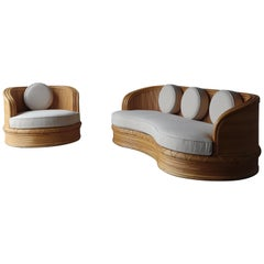 Curved Pencil Reed Bamboo Sofa & Chair