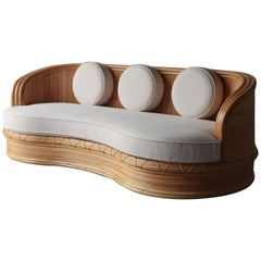 Curved Pencil Reed Bamboo Sofa