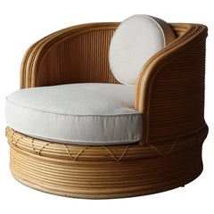 Curved Pencil Reed Bamboo Swivel Chair