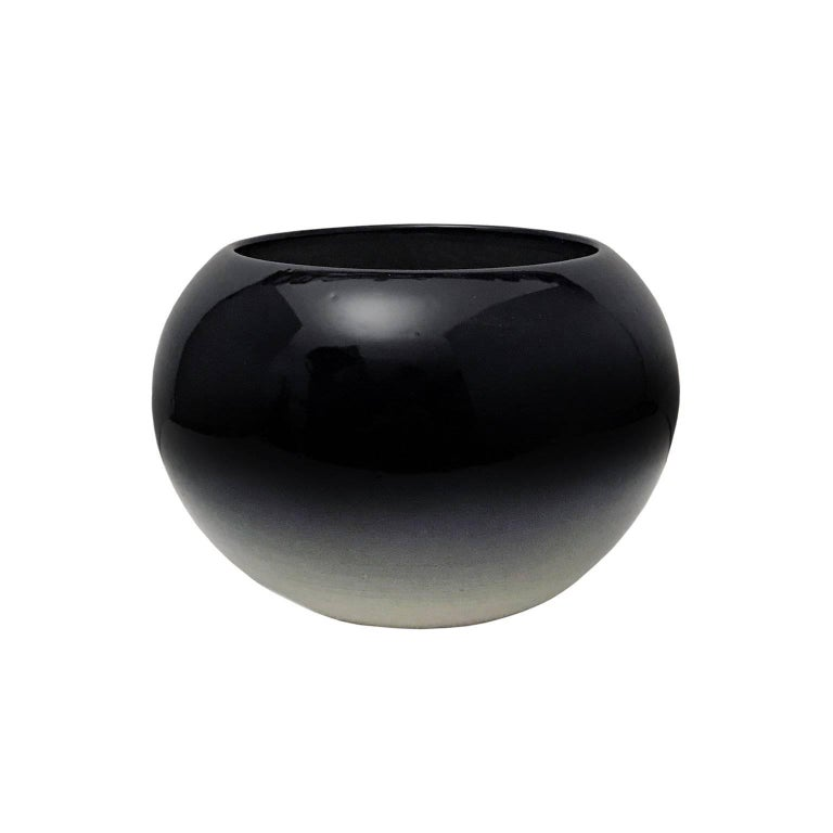 Curved Rounded Ceramic Bowl with Ombre Glaze by Sandi Fellman