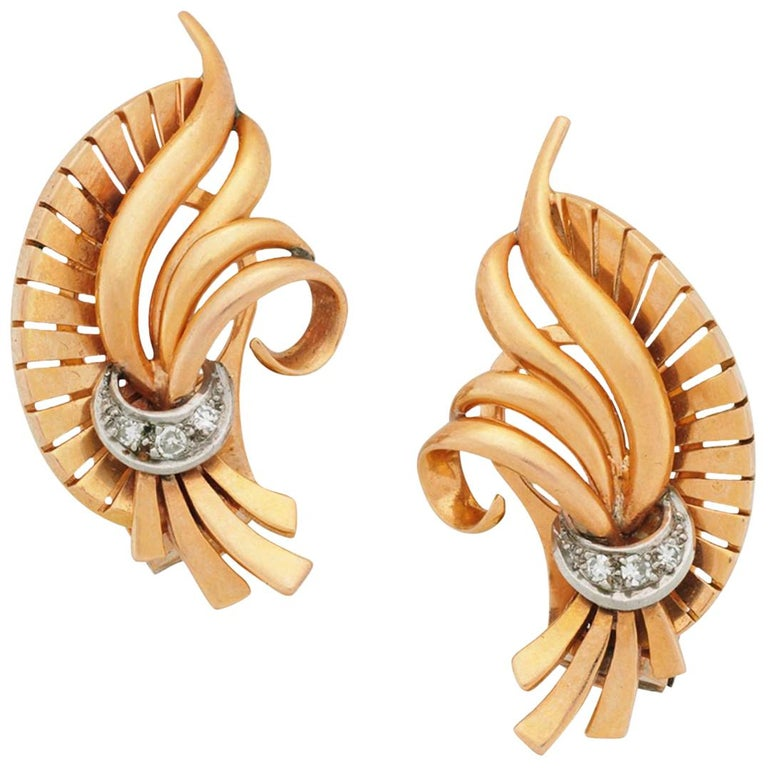 Curved Scroll Earrings with Diamonds, 14 Karat White and Yellow Gold For Sale