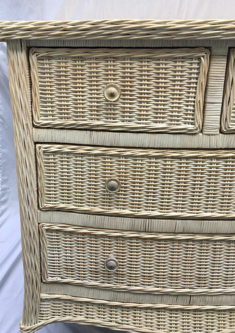 Mid-Century Modern Curved Serpentine Draped Wicker Chest of Drawers For Sale