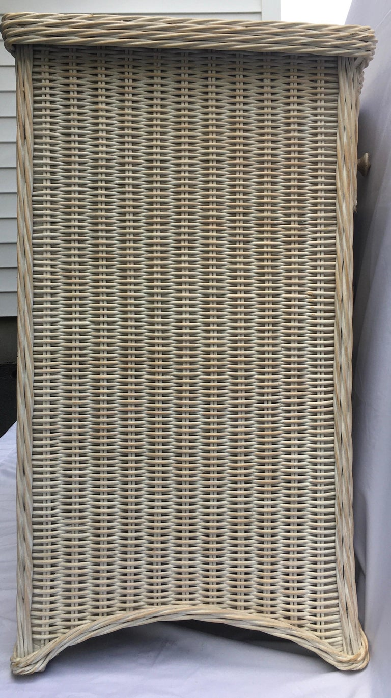 20th Century Curved Serpentine Draped Wicker Chest of Drawers For Sale