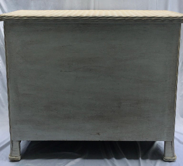 Curved Serpentine Draped Wicker Chest of Drawers For Sale 1